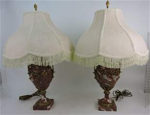 Pair of pink marble table lamps with
