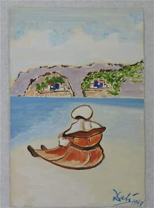 Salvador Dali watercolor on paper,