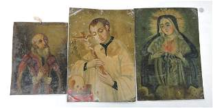 Lot of 3 religious Icon paintings on tin