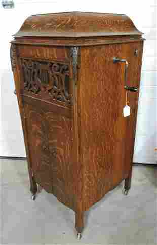 Oak floor model phonograph, Monophone,