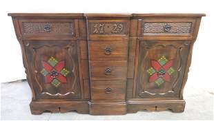 English oak sideboard, 1729 in center,