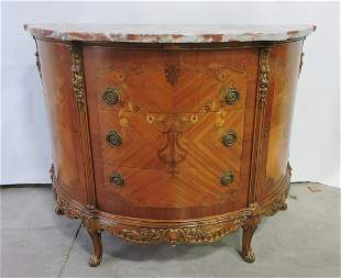 "Marble top inlaid sideboard, 36""h,"