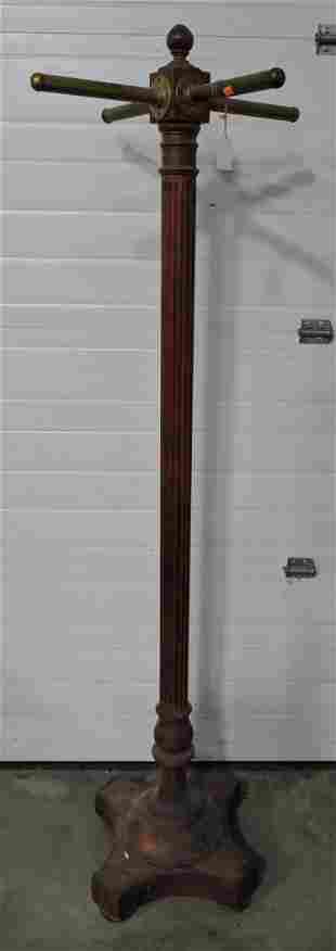 Mahogany hall tree with brass posts,