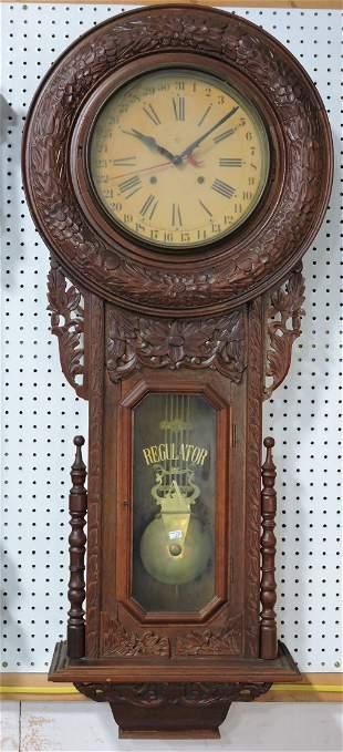Ansonia oak wall regulator clock with