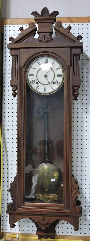 Ansonia walnut wall regulator clock,