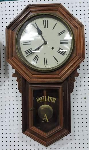 Ansonia walnut wall regulator clock,
