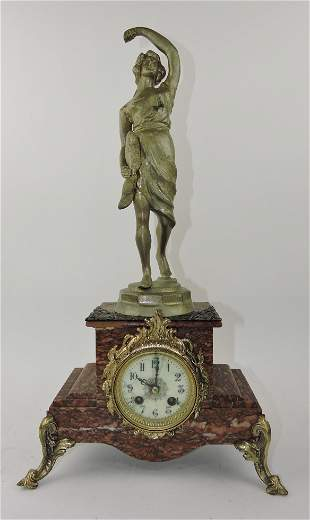 """Marble statue clock, 22"""", hairlines to"""