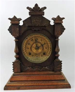 """Ansonia oak shelf clock, 15"""", key"""