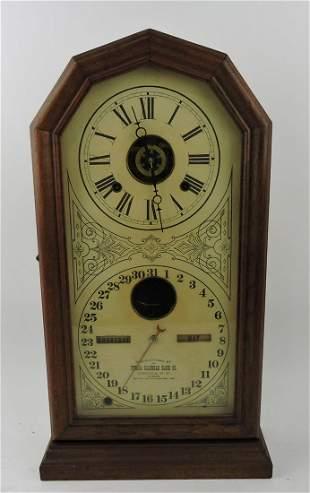"Ithaca calendar shelf clock, 21"""