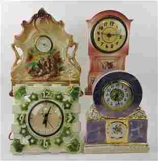 Lot of 4 china clocks - 3 wind up,