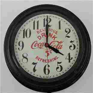 """Coca Cola electric wall clock, 12"""""""