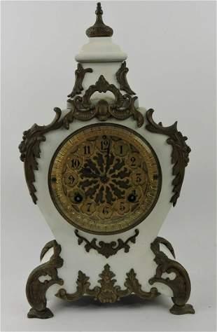 "Iron mantle clock, 17"""