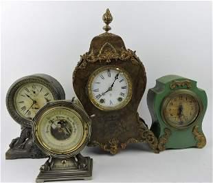 Lot of 3 clocks and barometer