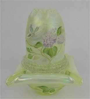 Fenton topaz vaseline opalescent fairy