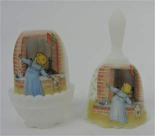 Fenton Christmas fairy lamp and bell