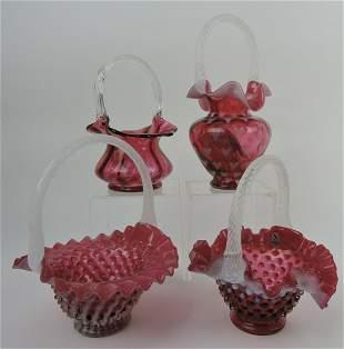 Fenton lot of 4 cranberry baskets