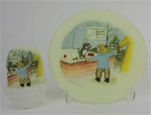 Fenton Puppies For Sale fairy lamp and plate