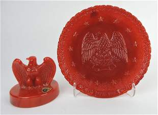 Fenton 1976 red slag eagle paperweight and