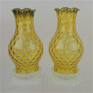 Fenton pair of early candle lamps