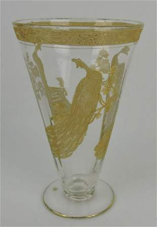 Moser vase with gold peacocks, 10""