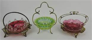Victorian art glass lot of 3 jelly