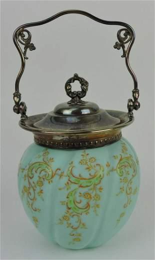 Mt. Washington blue satin biscuit jar with