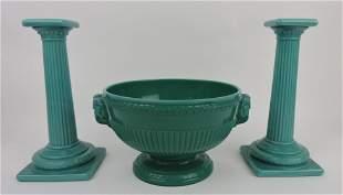 "Green/jade slag center bowl, 10""w, and"