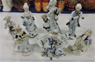 Lot of 7 porcelain figures, 4 signed KPM