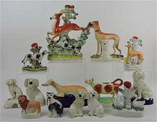 Staffordshire lot of 14 animals,