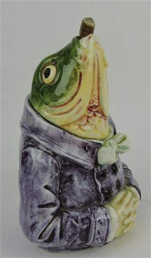 Majolica figural fish with purple smoking