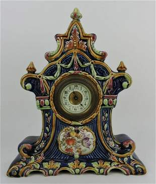 Majolica mantle clock, 15""