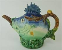 Rare Minton majolica blowfish teapot