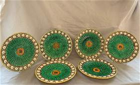 A set of six Wedgwood majolica Stanley plates,