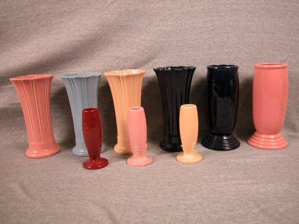 2: Post 86 Fiesta vase group - 4 medium vases - rose, p