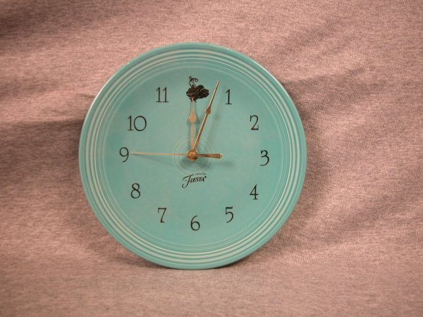 11: Post 86 Fiesta turquoise wall plate clock