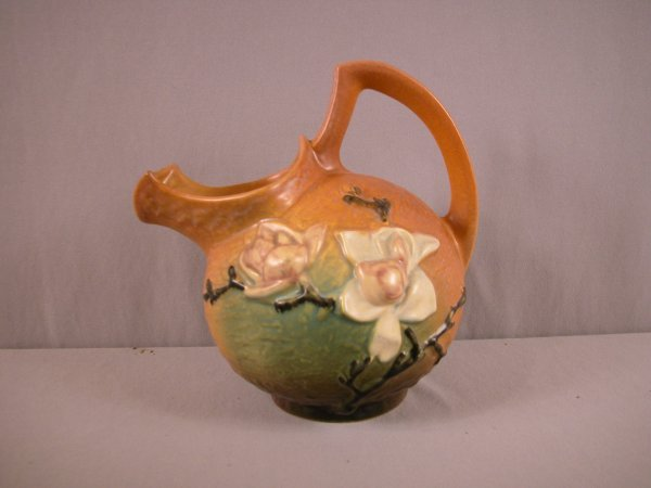 1: ROSEVILLE brown Magnolia ice lip pitcher, #1327