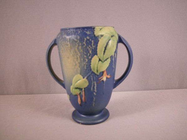 "5: ROSEVILLE blue Fuchsia vase, 893-6"", minor base nick"