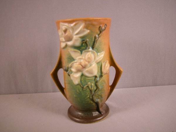 7: ROSEVILLE brown Magnolia  vase, 89-7""