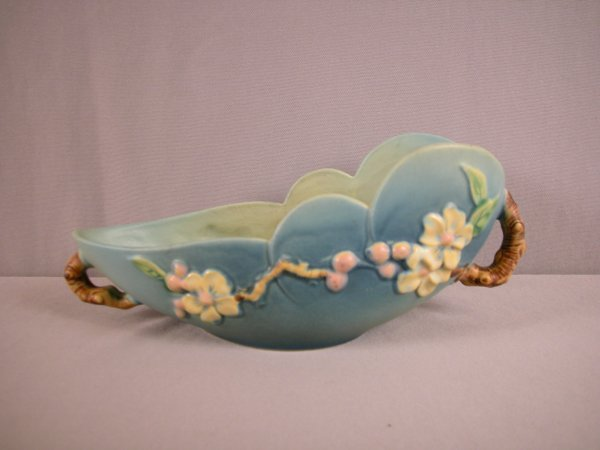 "20: ROSEVILLE blue  Apple Blossom  10"" bowl, 329-10"""