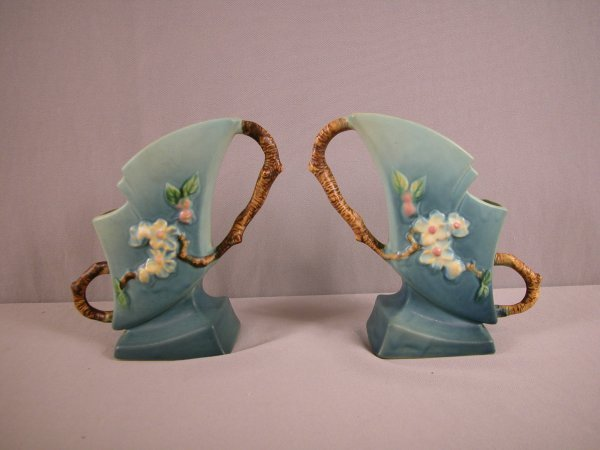 22: ROSEVILLE blue pair of Apple Blossom vases, 373-7""