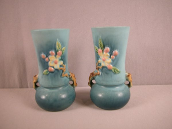 24: ROSEVILLE blue pair of Apple Blossom vases, 381-6""