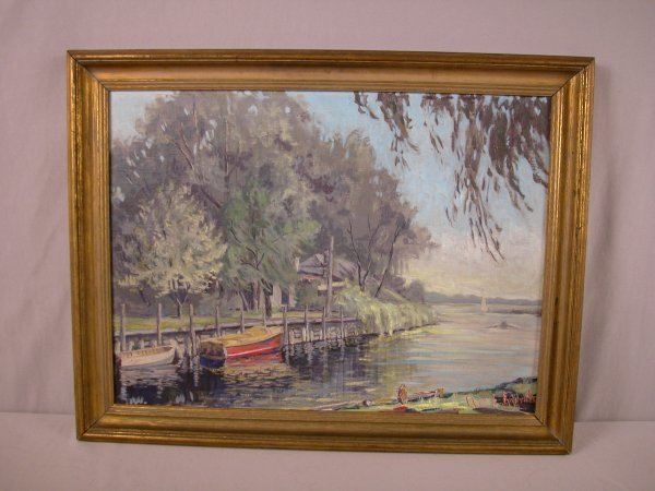 "481: o/b ""Macy's Slip"" on Lake Wawasee by Clara L. Emer"