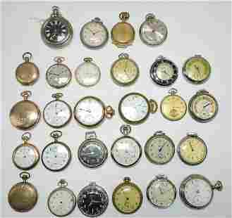 Pocket watch lot of 28: Waltham, Elgin,