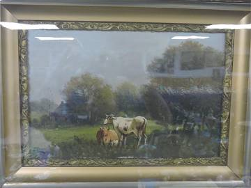 Oil on canvas by J. Davis, cows in