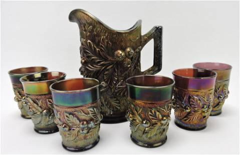 Northwood Acorn Burrs amethyst pitcher