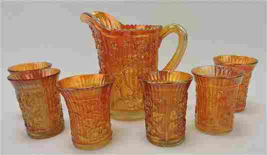 Marigold carnival glass rose pattern pitcher