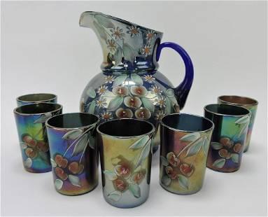 Northwood cobalt carnival glass cherry enamel