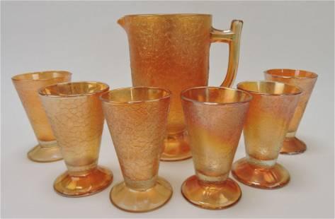 Marigold crackle carnival glass pitcher &