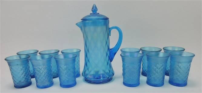 Northwood blue carnival glass concave diamond