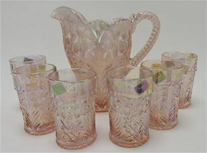 Imperial pink carnival glass floral pitcher &